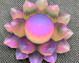 Violet Sunrise Resin Color Shift Lotus Flower | Paperweight | Desk ornament | Shelf Decoration | Pink |Green | Orange | Yellow | Iridescent