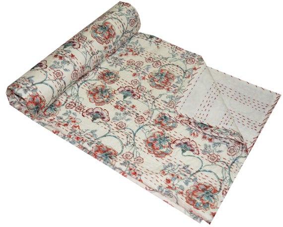 Indian Handmade Cotton Kantha Quilt Queen Blanket Throw Bohemian Bedspread Gudri