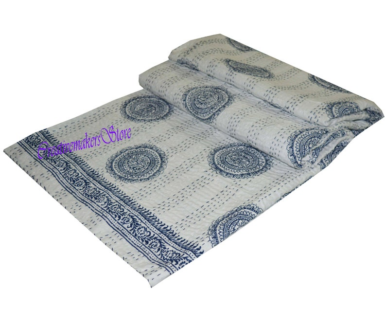 Soft Indian handmade new buta printed\u00a0Kantha Quilt Gudri Blanket Home Living Bedspread multi Size soft flannel quilt