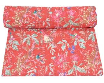 Indian handmade Kantha quilt  bedspread bedsheet bedcover quilt Kantha Throw coverlet vintage handmade  Queen king size Bird Print quilt