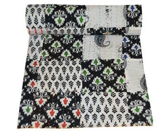 Indian Cotton Patchwork Kantha Quilt Colorful Handmade Hand Block Print Sari Patchwork Kantha Blanket Twin Size Bedspread Kantha Throw