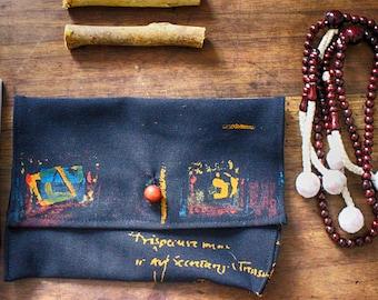 bag for Juzu - hand-stitched - wooden bead - hand-sewn - bag - handbag -  little bag for Jutzu - tobacco holder - wallet