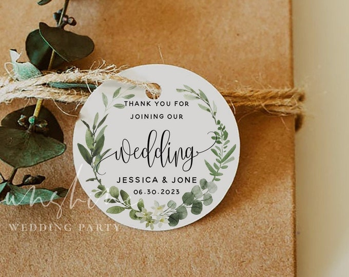 Eucalyptus Greenery Round Favor Tag Template, Printable Round Wedding Label Sticker, Rustic, Fully Editable, Templett, Instant Download, G3