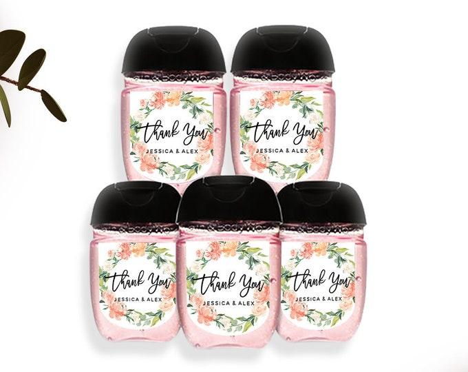 Wedding Hand Sanitizer Label, Orange Floral Wedding Label, Printable Mini Hand Sanitizer Favor, Editable Text, Instant Download, Templett F1