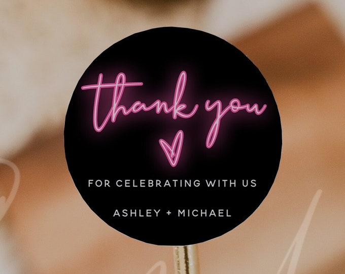 Neon Thank You Favor Round Tag Template, Neon Party Sticker Template, DIY Editable Thank You Tag, Birthday Party, Baby Shower, Bridal Shower