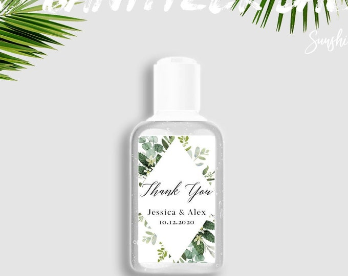 Wedding Hand Sanitizer Labels, Greenery, Wedding Labels, Printable Mini Hand Sanitizer Favor, Editable Text, Instant Download, Templett, G3