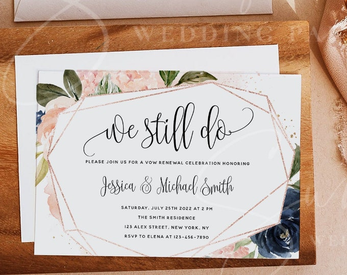 Navy & Blush Vow Renewal Invitation Template, We Still Do, INSTANT DOWNLOAD, Printable Wedding Anniversary Invite, 100% Editable Templett F6