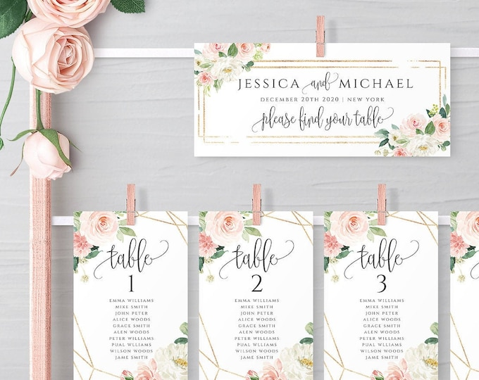 Blush & White Wedding Seating Chart Template Floral Printable Table Seating Plan Editable Hanging Seating Plan Instant Download Templett F5