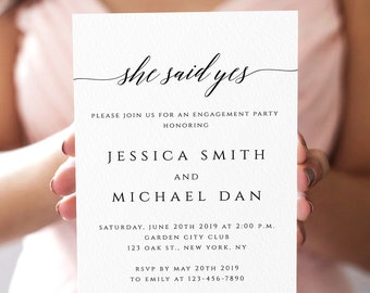 Engagement Party Invitation Template Printable Engagement Invitation She Said Yes Engagement Invite Printable Editable Template Templett R2