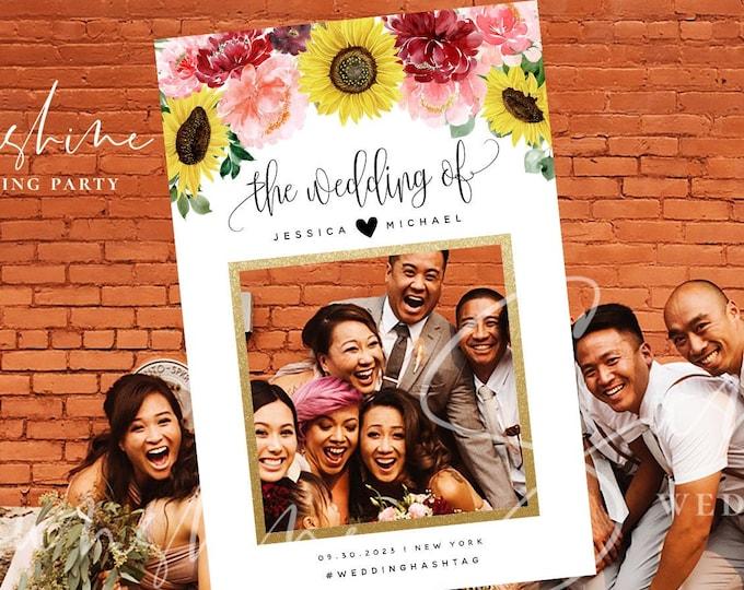 Sunflower Burgundy Wedding Photo Prop Booth Frame Template Floral Selfie Frame Prop Frame Editable Printable Template INSTANT Templett F12