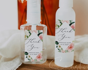 Wedding Hand Sanitizer Labels, Blush White Wedding Label, Printable Mini Hand Sanitizer Favor, Editable Text, Instant Download, Templett, F5