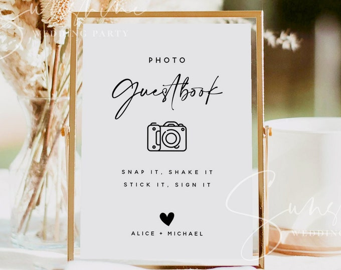 Photo Guest Book Sign, Wedding Photo Guestbook Sign, Photo Guestbook Printable, Personalized Wedding Guestbook Sign, Templett, M3