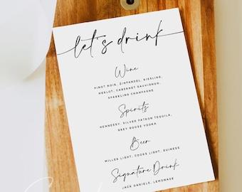 Modern Drink Menu Template, Minimalist Wedding Dinner Drink Menu, Printable, Digital Download, Reception Dinner Menu, 100% Editable, DIY, M3