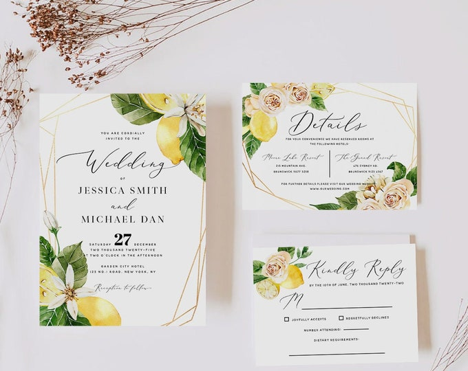 Lemon Wedding Invitation Suite Template, Wedding Invitation Kit, Summer Wedding Invitation Template, Printable Template, Instant Download L1