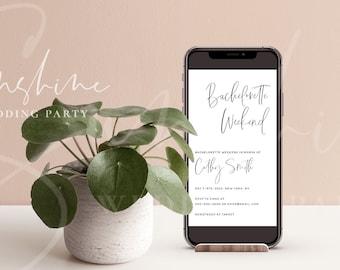 Bachelorette Invitation, Electronic Modern Minimalist Bachelorette Invitation & Itinerary Template, Editable Bachelorette Invite Instant M5