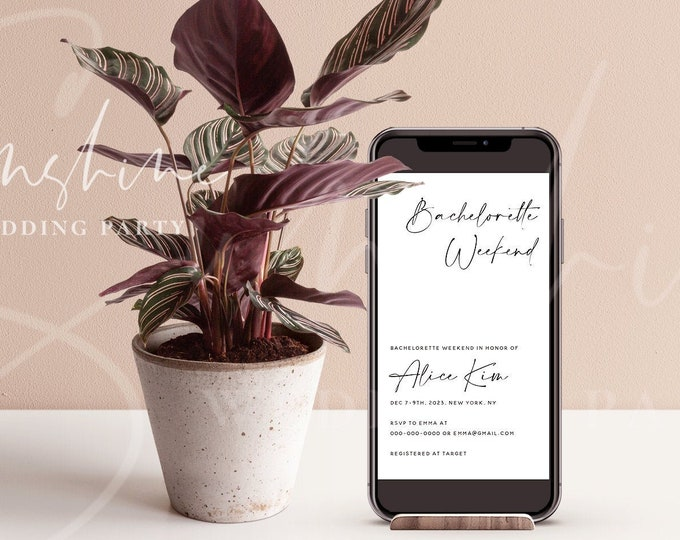 Bachelorette Invitation, Electronic Modern Minimalist Bachelorette Invitation & Itinerary Template, Editable Bachelorette Invite Instant M3