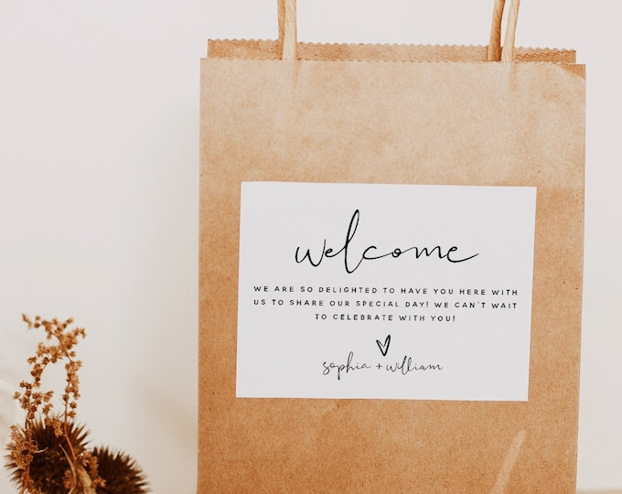 Welcome Bag Label Template, Wedding Modern Welcome Bag Labels, Printable Welcome Bag Labels, Editable Labels, Instant Download, Templett, M8