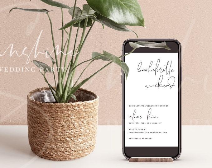 Bachelorette Invitation, Electronic Modern Minimalist Bachelorette Invitation & Itinerary Template, Editable Bachelorette Invite Instant M4