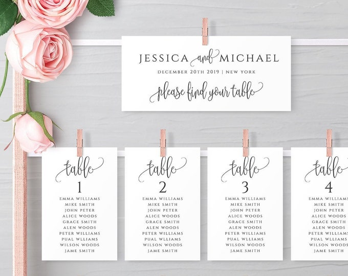 Wedding Seating Chart Template Printable Table Seating Plan Editable Templates Hanging Cards Instant Download Templett JPEG PDF Templates R1