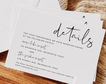 Modern Wedding Details Card Template, Minimalist Wedding Accommodations Card Template, Wedding Details Card, Instant Download, Templett, M8