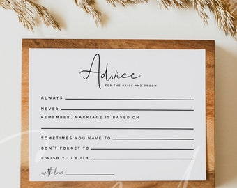 Modern Advice For The Bride And Groom Card Template, Advice Cards Wedding, Bridal Shower Advice Cards, Printable Advice Cards Download, M8