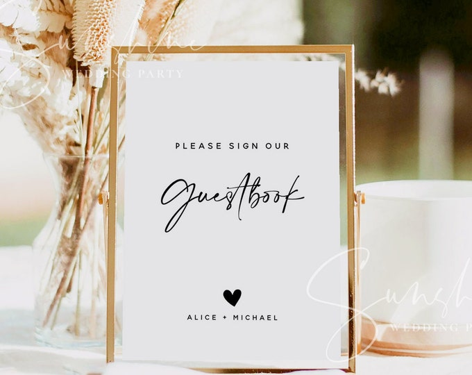 Please Sign Our Guestbook Sign Printable, Sign Our Guestbook, Wedding Guestbook Sign Instant, Modern Minimalist Wedding Signage DIY, M3