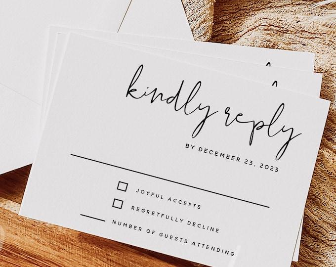 Wedding RSVP Card Template, Minimalist Wedding Kindly Reply Card Template, Modern RSVP Template, RSVP Insert, Instant Download, Templett, M8