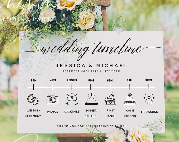 Wedding Itinerary Sign Template, Modern Wedding Timeline Sign Template, Minimalist Wedding Timeline Sign, Instant Download, Templett, R2