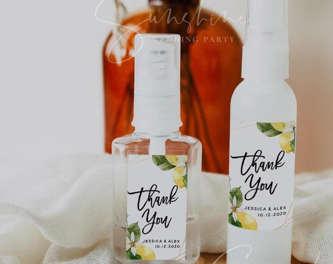 Wedding Hand Sanitizer Labels, Rustic Lemon Blue Wedding, Printable Mini Hand Sanitizer Favor, Editable Text, Instant Download, Templett, L1