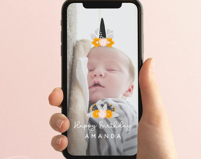 First Birthday Snapchat Filter, Unicorn Snapchat Geofilter First Birthday, Birthday Snapchat, 1st Birthday Geofilter, Birthday Filter, B2