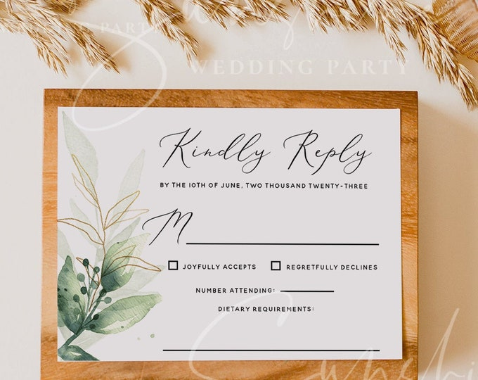 Eucalyptus Wedding RSVP Template, Greenery Gold Printable Wedding RSVP Card, Editable RSVP, Boho Rustic Wedding Instant Download Templett G1