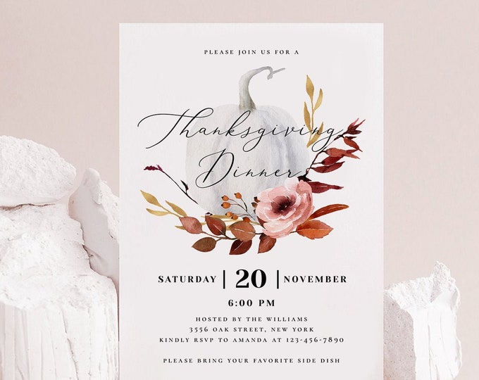 Thanksgiving Invitation Template, Floral Friendsgiving Invitation Template, Printable, Instant Download, Editable Template, Templett, TG
