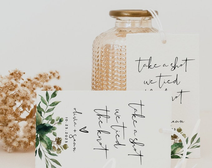 Take a Shot We Tied the Knot, Greenery Wedding Favor Tags Template, Wedding Favor Tags Template, Favor Tags, Instant Download, Templett, G5
