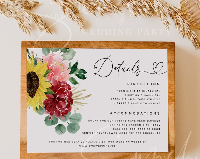 Sunflower Burgundy Wedding Details Template, Floral Printable Accommodations Card Editable Information Card, Instant Download, Templett, F12