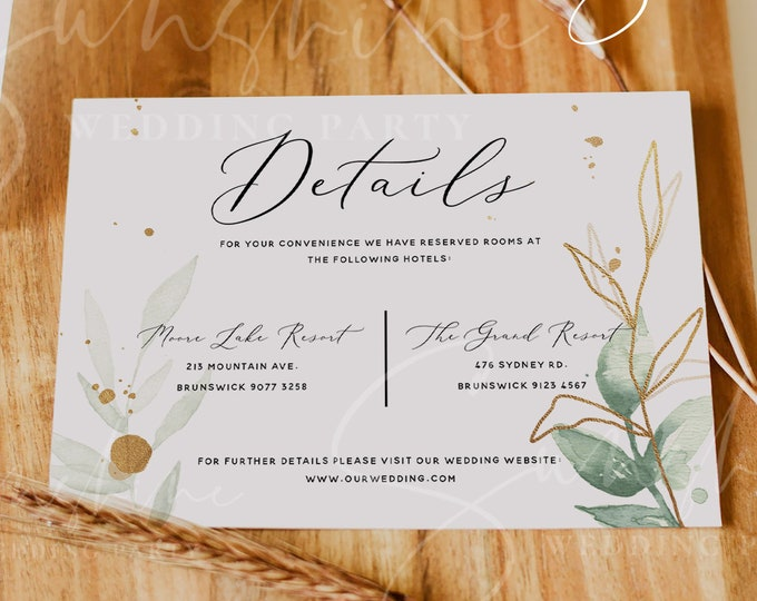 Eucalyptus Wedding Details Template, Greenery Gold Printable Accommodations Card Editable Information Card, Instant Download, Templett, G1