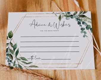 Greenery Advice For The Bride And Groom Card Template, Advice Cards Wedding, Bridal Shower Advice Cards, Printable Advice Cards Download, G5
