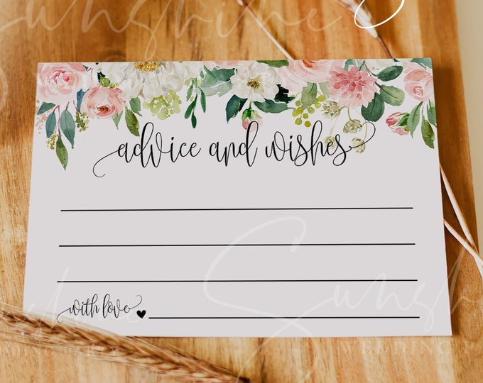 Blush Floral Wedding Advice Card Template, Printable Wedding Advice Cards for the Bride & Groom, Editable, Instant Download, Templett, F5