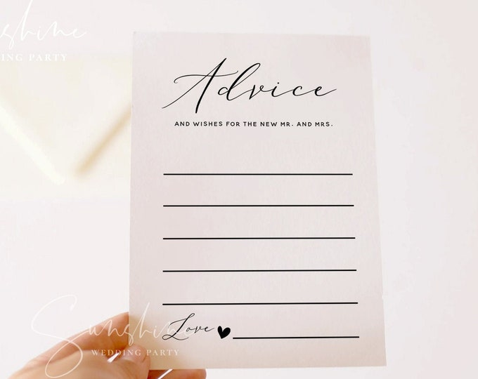 Wedding Advice Card Template, Printable Anniversary Advice for the Bride & Groom, Bridal Shower Advice Editable Instant Download Templett R3