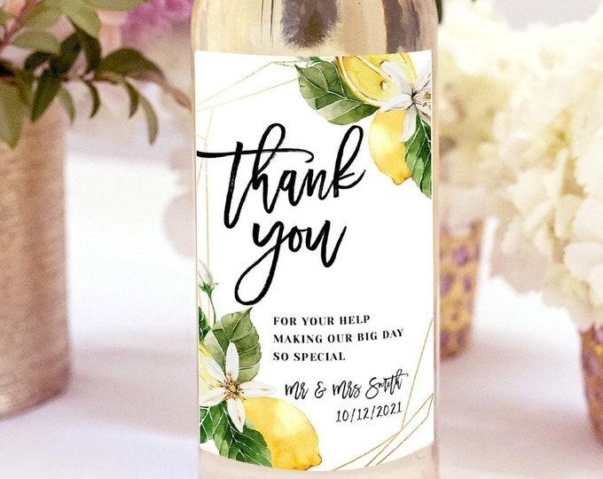 DIY Wedding Wine Label Template, Rustic Lemon Wine Bottle Label, Printable Wedding Wine Labels, Editable Wine Labels, Instant Download, L1