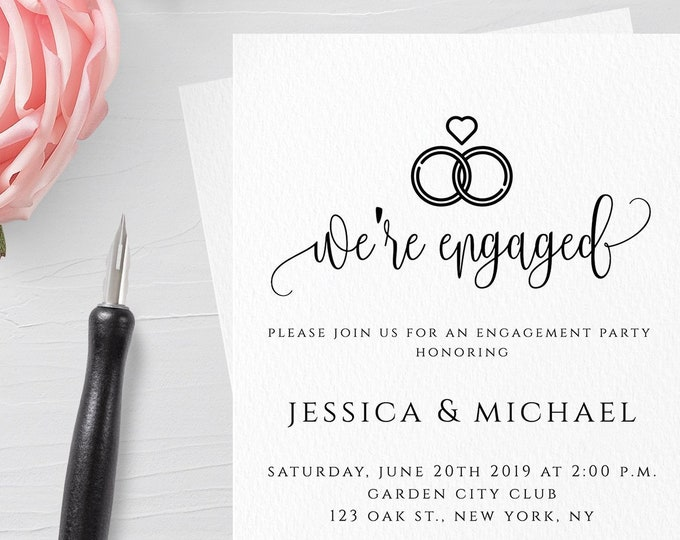 Engagement Party Invitation Template Printable Engagement Invitation We're Engaged Engagement Invite Printable Editable Template Templett R1