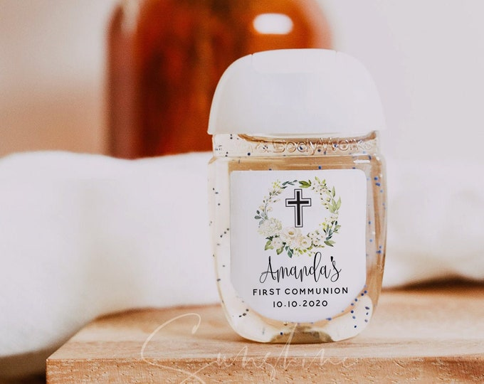 Hand Sanitizer Label, White Floral Baptism Label, Printable Christening Mini Hand Sanitizer Favor, Editable Text, Instant Download, Templett