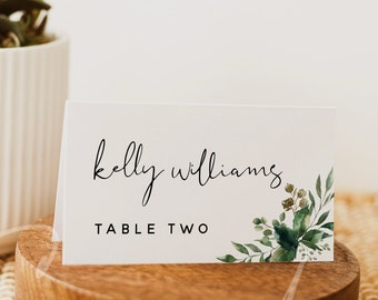 Greenery Wedding Place Cards Template, Flat Place Card Template, Tent Fold Place Card Template, Printable Place Cards, Instant Download, G5