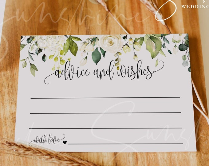 White Floral Wedding Advice Card Template, Printable Wedding Advice Cards for the Bride & Groom, Editable, Instant Download, Templett, F7
