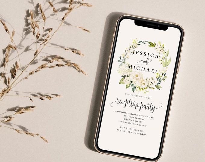 Wedding Electronic Reception Invitation Template, White Floral Wedding, Wedding Reception, E-Invite Wedding, Instant Download, Templett, F7