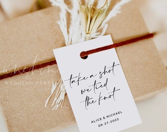Take a Shot We Tied the Knot, Favor Tag Template, Printable Wedding tags template, Modern Wedding Favor Tags, Instant Download, Templett, M3