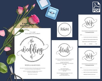 Wedding Invitation Template Invitation Suite Template Etsy