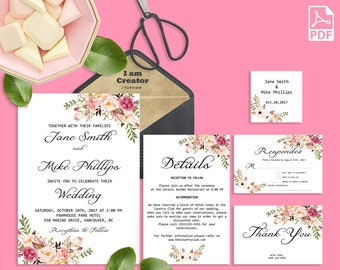 Wedding Invitation Template Invitation Suite Template Printable Editable PDF Marsala Wedding Invitation Wedding Invite Instant Download