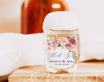 Wedding Hand Sanitizer Label, Marsala Wedding Label, Printable Mini Hand Sanitizer Favor, 100% Editable Text, Instant Download, Templett, F4