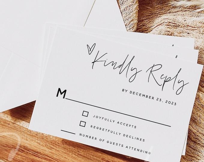 Wedding RSVP Card Template, Minimalist Wedding Kindly Reply Card Template, Modern RSVP Template, RSVP Insert, Instant Download, Templett, M7