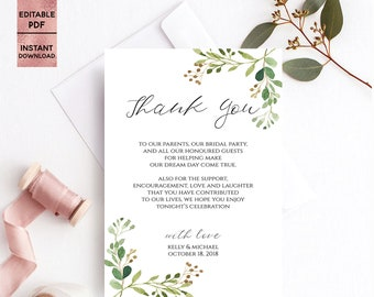 Greenery Wedding Thank You Card Template Printable Green Leaves Handwritten Font Thank You Card Editable PDF file Instant Digital Download